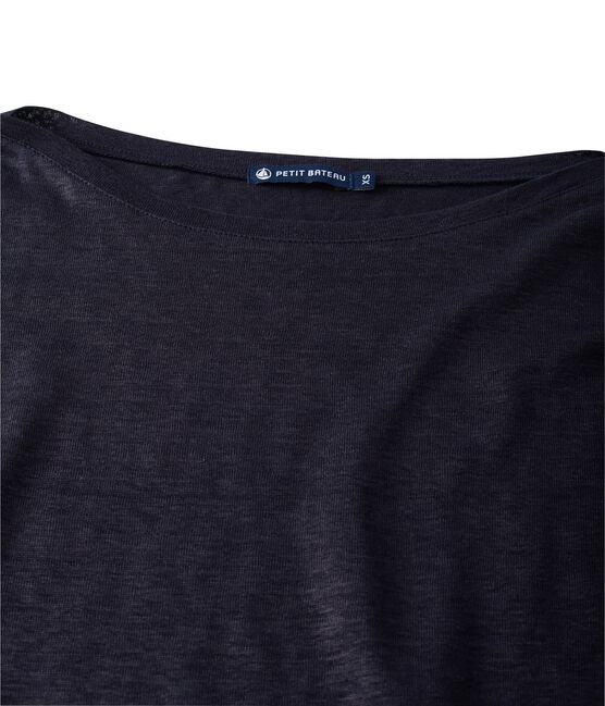 Women's long-sleeved lacquered linen tee Smoking blue / Brillant blue