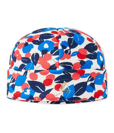 Baby girl's cap in printed fleece Marshmallow white / Multico white