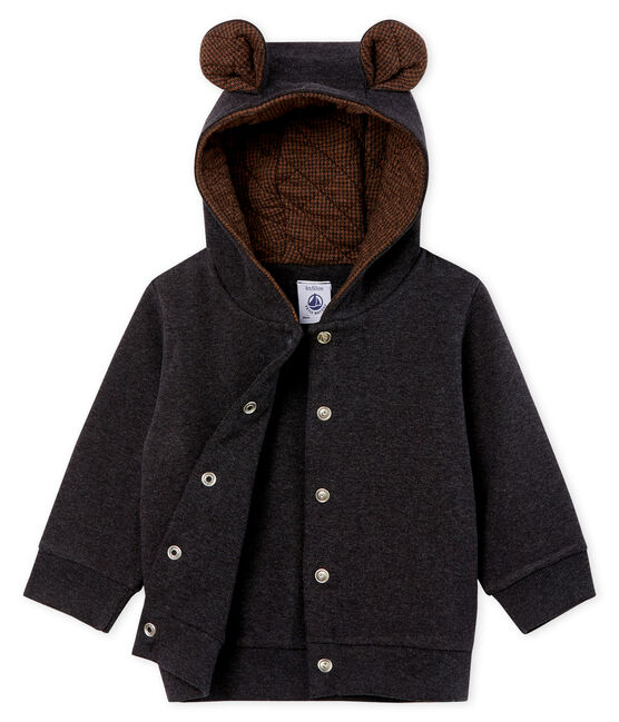 Baby Boys' Hoody in Elastane Rib Knit. City Chine grey