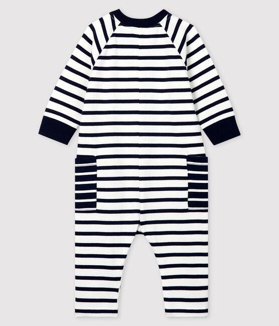 Babies' Unisex Long Jersey Jumpsuit Marshmallow white / Smoking blue