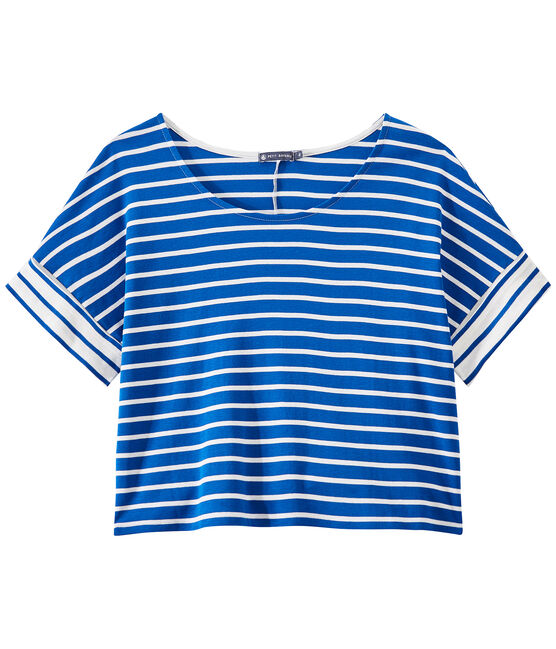 Women's striped oversized tee Perse blue / Marshmallow white
