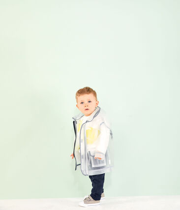 Unisex transparent waxed coat for babies Translucide white