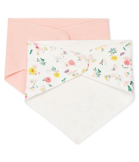 Set of 2 bandana bibs for baby girls . set