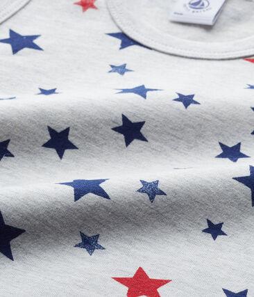 Boy's printed undershirt in stretch jersey Beluga grey / Multico white
