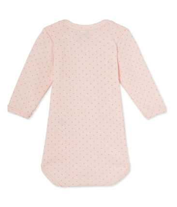Baby girls' long-sleeved bodysuit in wool and cotton Vienne pink / Gretel pink