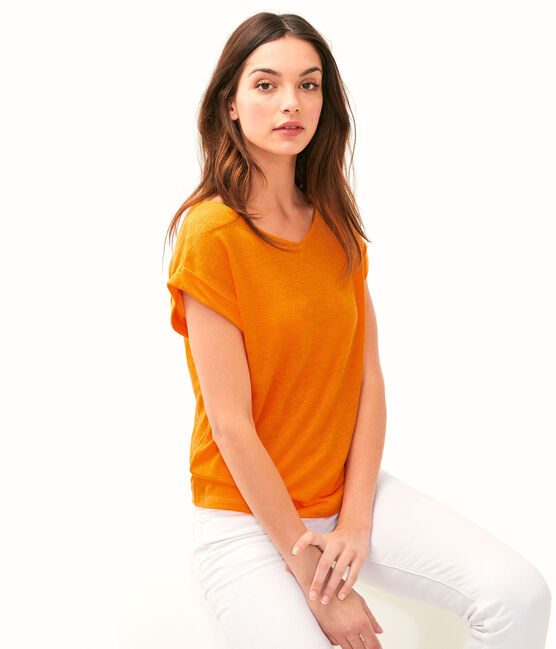 Women's Linen T-Shirt Tiger orange