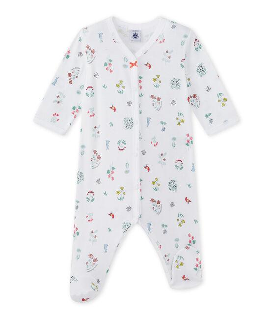 Baby girl's print sleepsuit Ecume white / Multico white