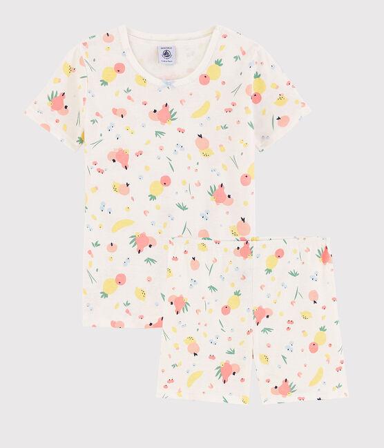 Girls' Snugfit Summer Fruit Pattern Organic Cotton Short Pyjamas Marshmallow white / Multico white