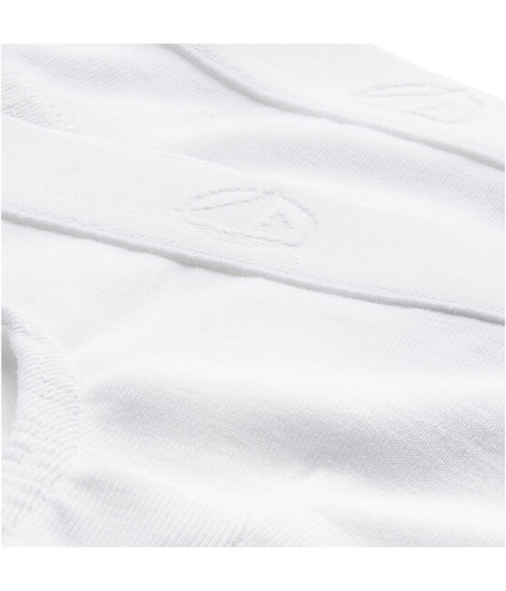 Set of 2 little boys' plain white pants . set