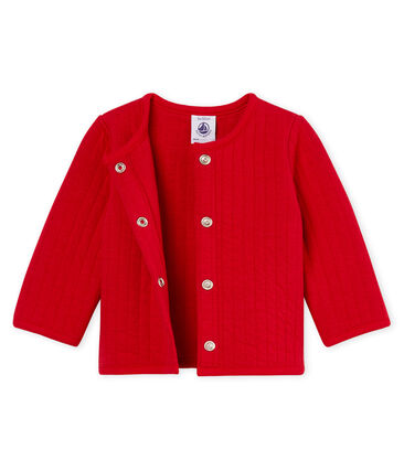 Baby girls' cardigan in quilted tube knit