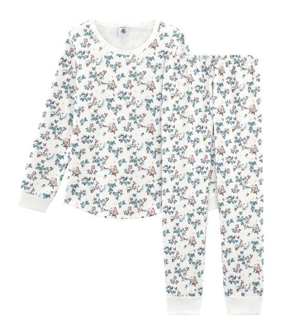 Girls' Pyjamas in Cotton Marshmallow white / Multico white
