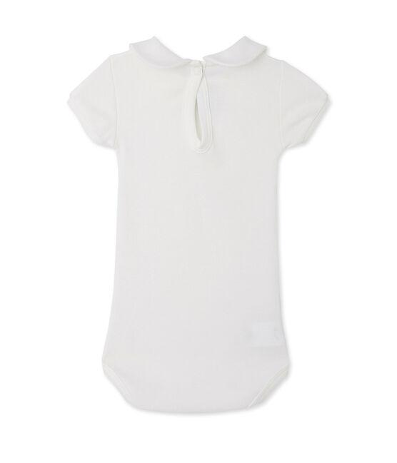 Baby girls' bodysuit with collar Lait white