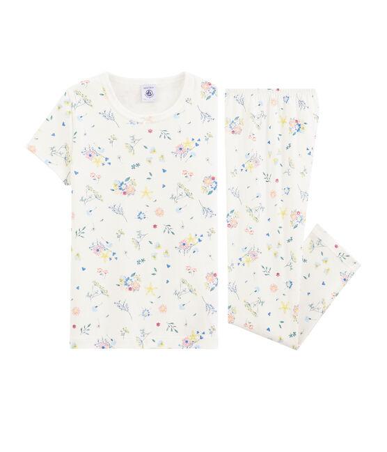 Girls' Cotton Floral Print Pyjamas Marshmallow white / Multico white