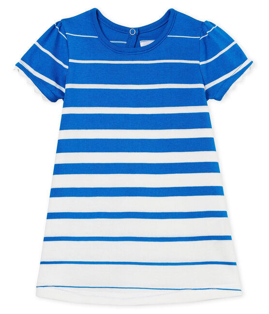 Baby girls' striped dress Riyadh blue / Marshmallow Cn white