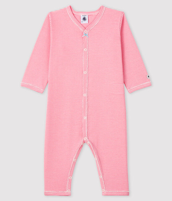 Baby Girls' Pink Pinstriped Footless Ribbed Sleepsuit Gretel pink / Marshmallow white