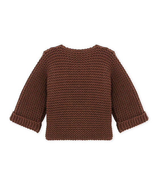 Baby's cardigan in wool and cotton mix Brown brown