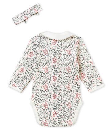 Baby girl's long sleeved print bodysuit and headband