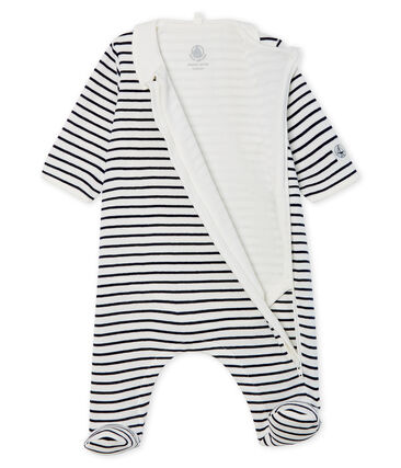 Babies' Zip-Up Ribbed Bodyjama Marshmallow white / Smoking blue
