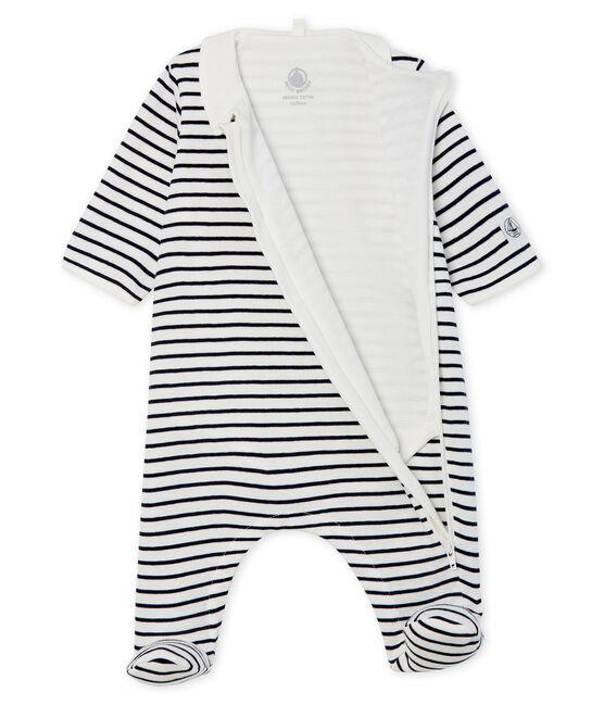 Babies' Zip-Up Ribbed Bodyjama Marshmallow white / Smoking blue