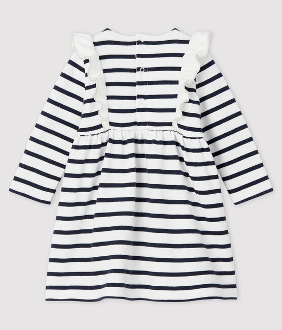 Baby girl's long-sleeved dress Marshmallow white / Smoking blue