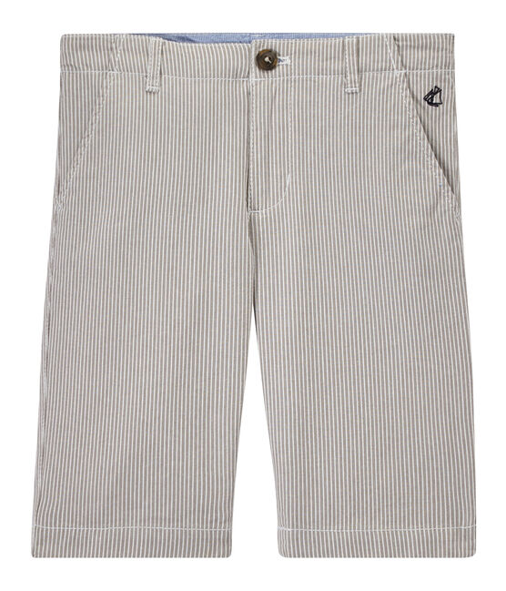 Boys' striped bermuda shorts Minerai grey / Lait white
