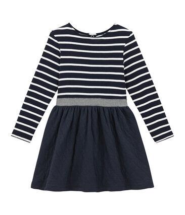 Girl's dual fabric striped dress Smoking blue / Marshmallow white