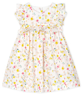 Baby Girls' Printed Short-Sleeved Dress Marshmallow white / Multico white