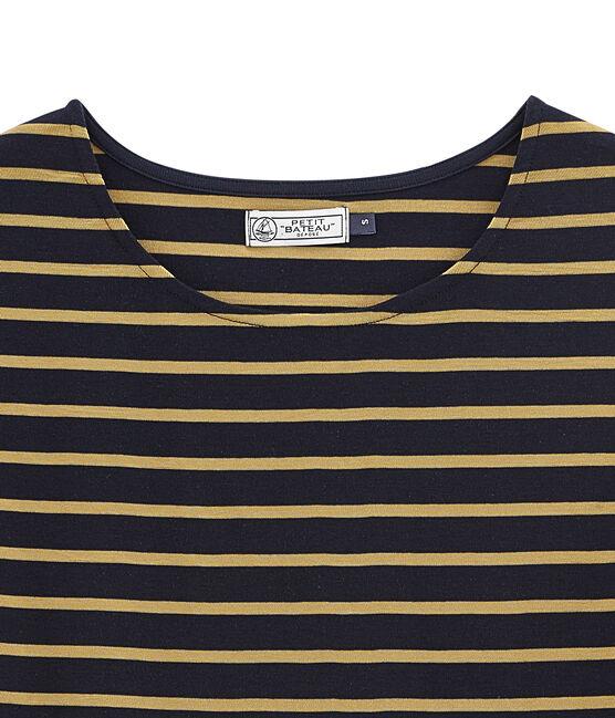 women's short sleeved t-shirt Smoking blue / Brindille Satin yellow