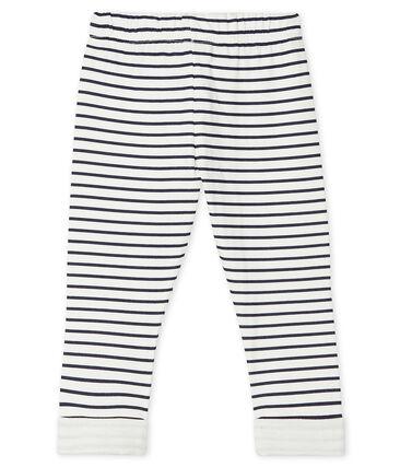 Baby Boys' Print Tube Knit Trousers. Marshmallow white / Smoking blue