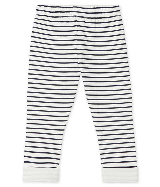 Unisex Baby's Print Tube Knit Trousers. Marshmallow white / Smoking blue