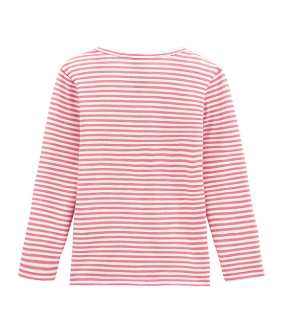 Little girl's long sleeved tee-shirtin wool and cotton Cheek pink / Marshmallow white