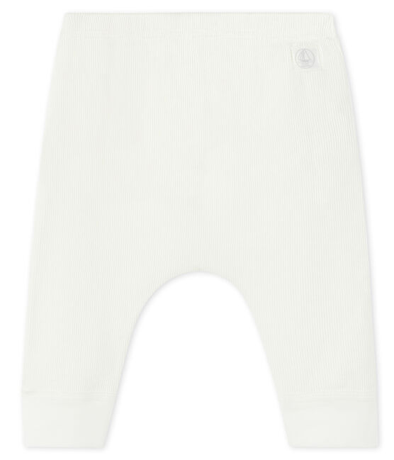 Baby leggings in cotton rib Marshmallow white