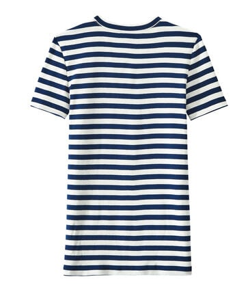 Women's T-shirt in heritage striped rib Medieval blue / Marshmallow white