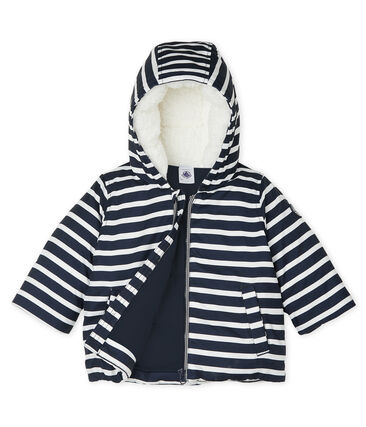 Striped Baby Boys' Down Jacket Smoking blue / Marshmallow white