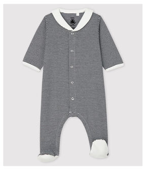 Babies' Stripy Organic Cotton Sleepsuit with Sailor Collar Smoking blue / Marshmallow white