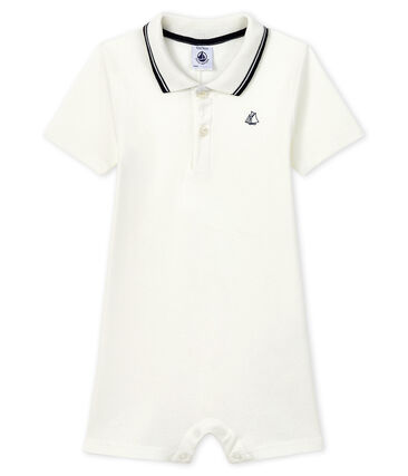 Polo shirt playsuit for baby boys Marshmallow white