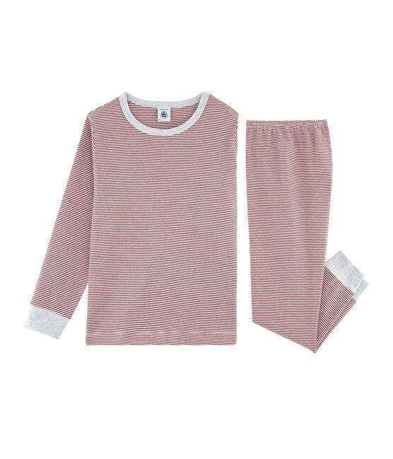 Boys' Ribbed Pyjamas Carmin red / Marshmallow white