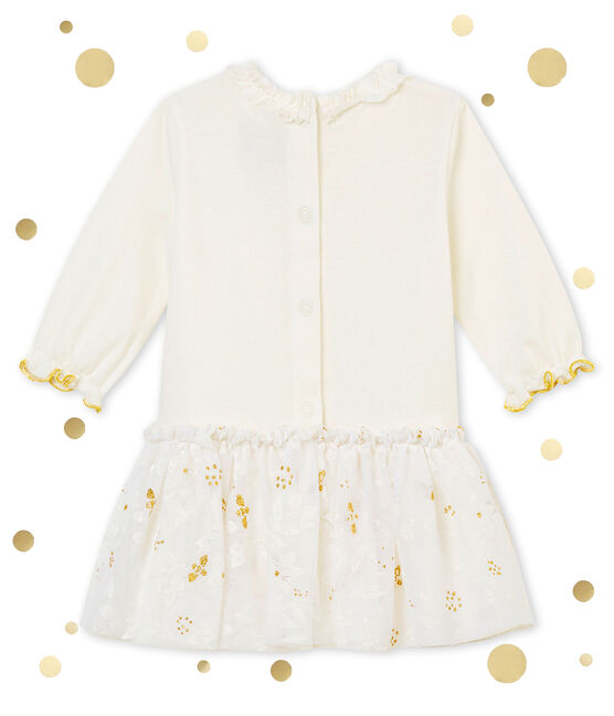 Baby girl's tulle dress Marshmallow white / Multico white