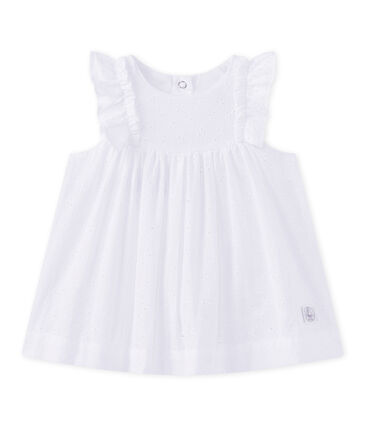 Baby girls' eyelet lace dress Ecume white