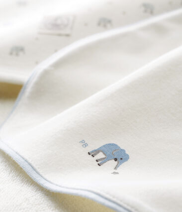 Baby boys' square bath towel and bib.