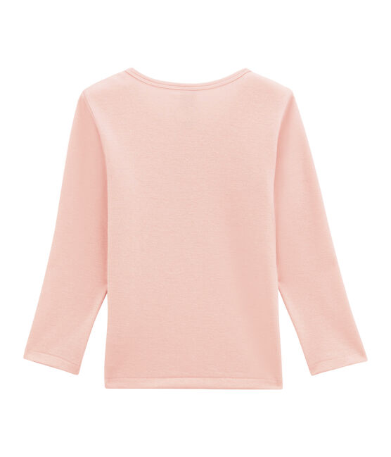 Little girl's long sleeved tee-shirtin wool and cotton Joli pink