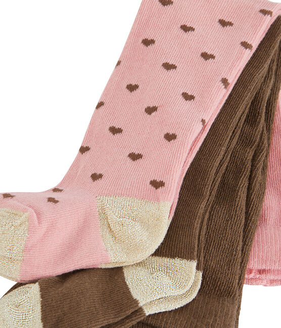 Baby Girls' Tights - 2-Piece Set Charme pink / Multico white