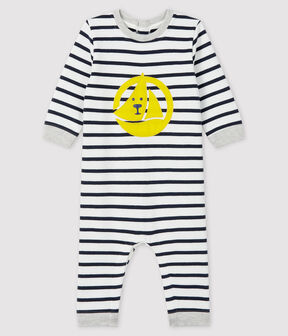 Baby boy's long playsuit Marshmallow white / Smoking blue