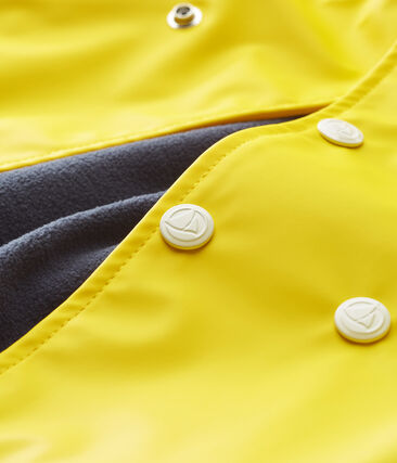 Baby girls' fleece-lined raincoat Jaune yellow