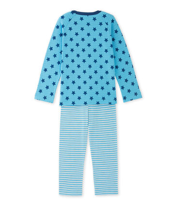 Boys' pyjamas in print / striped tube knit Ibiza blue / Major blue