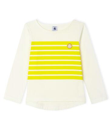 Girls' T-Shirt Marshmallow white / Eblouis yellow