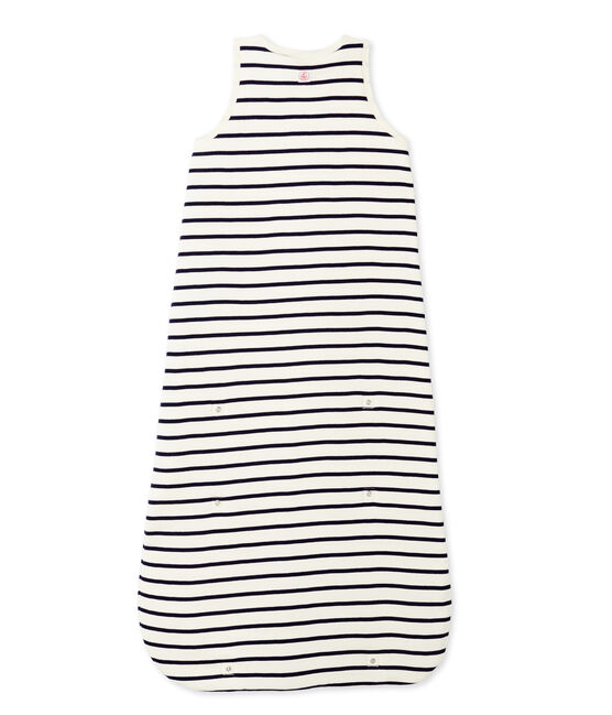 Baby's striped sleeping bag Coquille beige / Abysse blue