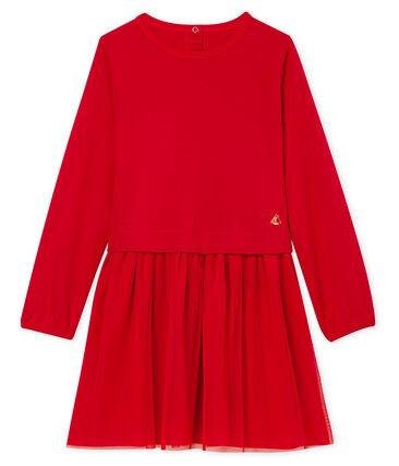 Girls' Dual-Fabric Dress Terkuit red