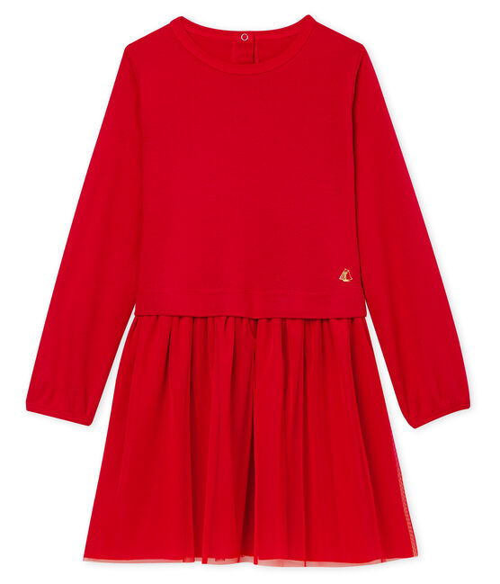 Girls' Dual-Fabric Dress Terkuit red