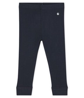 Baby girl's leggings in plain 1x1 rib knit Smoking blue
